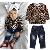 melhores roupas de bebê menina venda por atacado-2019 baby girl roupas de grife roupas de criança meninas roupas de leopardo tops t shirt + jeans crianças define melhor ternos infantil clothing a2790