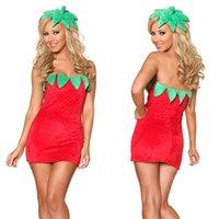 traje de morango venda por atacado-New Sexy Fruit Girl Traje Do Partido Do Dia Das Bruxas Sem Mangas Adulto Senhoras Fancy Dress Morango Traje para As Mulheres Por Atacado mascote