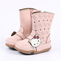 Wholesale children shoes kitty for sale - Group buy New Winter Children Boots Princess Pu Leather Hello Kitty Baby Girls Cotton padded Shoes Snow Boots High Boots