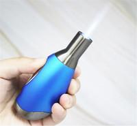 antorcha llama llama a prueba de viento encendedor de cigarros al por mayor-Mini portátil oval ligero viento de la llama 1300'C metal Dab la antorcha de chorro a prueba de viento Micro antorcha de butano encendedor de cigarrillos libres de DHL