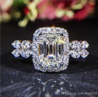 elmas sonsuzluğu toptan satış-Aşıklar için Infinity Lüks Takılar 925 Gümüş Prenses kesim Beyaz Topaz CZ Elmas Promise Yüzük Sonsuzluk Kadınlar Düğün Band Yüzük