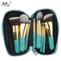 ingrosso sacchetti di spazzola per capelli-Anmor Makeup Brushes 9 PCS Set di spazzole sintetiche per capelli con borsa portatile GM001