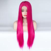 lange haarschichtige perücken großhandel-Glueless Hochtemperaturfaser natürliche Haaransatz Perücke Rose Pink lange gerade geschichteten Haarschnitt synthetische Lace Front Perücke Y190717