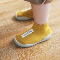весна лето новые детские туфли оптовых-19 Весной и летом New Kids противоскользящие носки для пола Детская обувь для ходьбы, резиновые нижние носки, короткая труба с маркировкой из хлопчатобумажной ткани