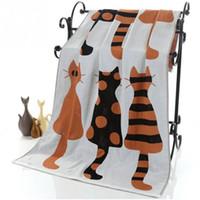 bademantel groß großhandel-Nette Katze Baumwolle Gaze Cartoon Erwachsene Badetuch Heimtextilien Großes Handtuch Bademantel Camping Sport Strand Kinder Decke