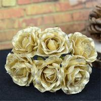 ingrosso fiori artificiali spray-42Pcs Bouquet di fiori artificiali di rose di seta oro spruzzato per la decorazione domestica di nozze Bouquet da sposa Scrapbooking Fiori finti artigianali