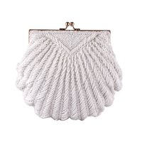 Wholesale hard shell clutch for sale - Group buy Women S Clutch Bag Evening Clutch Wedding Bridal Tote Pearl Beaded Fashion Shell Chain Party Bag
