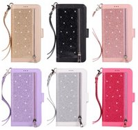 Wholesale iphone plus case wallet zipper online – custom Multifunction Sparkle Leather Wallet Case For Iphone Pro XS MAX XR X Zipper ID Card Slot Bling Glitter Sparkly Luxury Cover