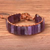 ingrosso braccialetti della boemia-Gioielli nuovo braccialetto punk Femme naturale cristallo viola in pelle singolo Wrap branelli del braccialetto della Boemia dalla spiaggia