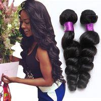 Wholesale 6a unprocessed weave online - Peruvian Virgin Hair Bundles g A Unprocessed Human Hair Weaves Peruvian Loose Wave Virgin Hair Wefts Natural Black