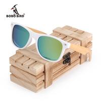 marco c al por mayor-BOBO BIRD Gafas De Sol De Madera De Bambú Polarizadas Marco Cuadrado Blanco Gafas Vintage gafas de sol feminino C-CG007