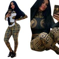 ingrosso pantaloni bianchi neri-Pantaloni a due pezzi di design da donna, totem scozzese, manica lunga, giacca con zip, top slim, pantaloni lunghi, abiti di moda, bianco nero