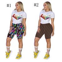 shorts de lantejoulas para mulheres venda por atacado-camisa Mulheres Sequin F Letters Treino O pescoço manga curta T Tops Leggings Shorts Jogger 2pcs apertado conjuntos Conjuntos faísca Glam Ternos A41107