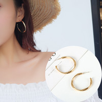 Wholesale simple golden rings resale online - Oorbellen Earings Needle Semi circle Twisted Golden Ring Earrings Temperament Personality Simple Geometric Classic Round