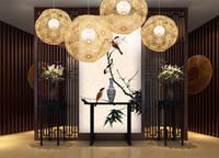 ingrosso fiocco di neve di bambù-Le lampade di candeliere del fiocco di neve della palla di vimini della palla di bambù fatte a mano semplici progettano il disegno decorativo nordico del candeliere di arte Trasporto libero LLFA