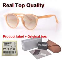 prix de lunettes de soleil oeil de chat achat en gros de-New Arrial femmes hommes cadre planche ronde lentille en verre charnière métal soleil Retro Vintage lunettes Goggle avec la boîte et les cas