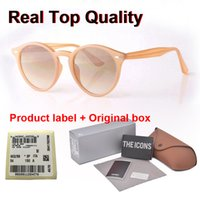 Wholesale New Arrial sunglasses women men Round plank frame Metal hinge glass lens Retro Vintage sun glasses Goggle with box and cases