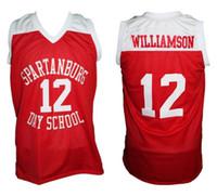 número do dia venda por atacado-# 12 Zion Williamson Spartanburg Grifos Day High School Vermelho Retro Clássico Basketball Jersey Mens Costurado Número Personalizado e nome Jerseys