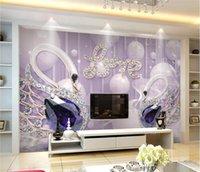 fundos do amor venda por atacado-Papel de parede personalizado 3d LOVE Swan jóias fundo da parede 5d papel de parede papel de parede decorativo 8d murais de cristal bump