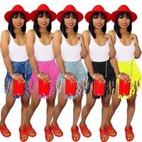 bacak stili şort toptan satış-Bayan tasarımcı şort püsküller denim şort rahat düz bacak pantolon rahat dar pantolon yeni stil şort sıcak klw1071