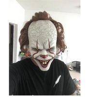 joker requisiten großhandel-Stephen Kings Es Maske Pennywise Horror Clown Joker Maske Clown Maske Halloween Cosplay Kostüm Requisiten
