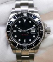 morador de relógio automático venda por atacado-Novo Luxo Sea-Dweller Red 44 milímetros Mens relógio automático movimento mecânico Ceramic Bezel Sapphire Homens PROFUNDAS Relógios de pulso btime