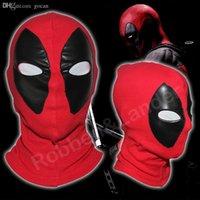 mascara hombre cuero completo al por mayor-Venta al por mayor-PU cuero Deadpool máscaras superhéroe pasamontañas Halloween Cosplay disfraz X-men sombreros flecha fiesta cuello sombreros capucha máscara facial completa