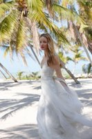 Wholesale best sky blue wedding dress for sale - Group buy 2020 New Best Selling Summer Beach Wedding Dresses Fashion V Neck Lace Backless Floor length Tulle Wedding Dress Vestidos