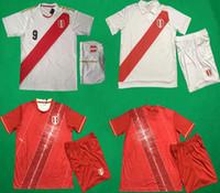 thailändische qualität fußball uniformen großhandel-19 20 Peru Heimfußball Uniformen Paolo Hurtado Renato GUERRERO Trikot und Shorts Erwachsene Thai Qualität Fußball Kits Peru Auswärts Rot Fußball Sets