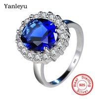 kate diana al por mayor-Yanleyu princesa Diana William Kate azul Zirconio cúbico anillos de compromiso para las mujeres 925 joyería del anillo de bodas de plata esterlina PR272