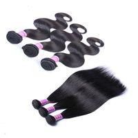 Wholesale indian remy hair bundle deal resale online - Brazilian Body Wave Bundles Deals Unprocessed Brazilian Virgin Human Hair Extensions Peruvian Virgin Remy Hair Straight Loose Wave