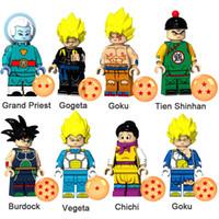 bina bilardo oyuncakları toptan satış-Dragon Ball Z Grand Priest Gogeta Goku Tien Shinhan Dulavratotu Vegeta Chichi Mini Action Figure Oyuncak Yapı Taşı Tuğla