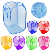 mesh-taschen zum waschen von kleidung großhandel-New Mesh Fabric Faltbare Pop Up Schmutzige Kleidung Waschen Wäschekorb Bag Bin Hamper Lagerung für den Haushalt verwenden