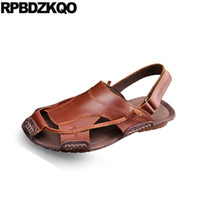 ingrosso sandali in cotone marrone-moda uomo sandali cinturino estivo in pelle piatto nativo giapponese genuino traspirante marrone 2018 scarpe di design nero casual romano