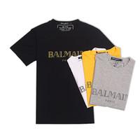 t klasik toptan satış-Balmain T-shirt% 100% Rahat Giysiler Malzeme Streç Giyim Doğal Ipek Klasik Beachwear Kısa Kollu Erkek Polo Gömlek Için
