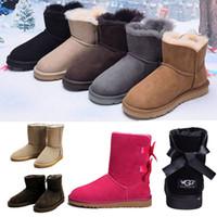 plataformas sapatos invernos para mulheres venda por atacado-WGG mulheres designer ankle boots luxo austrália inverno neve ajoelhar botas para meninas café famle Cinza moda castanha manter quente plataforma sapato