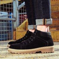 ayak bileği ayakkabıları erkekler için toptan satış-Erkek Ayakkabıları Moda Düz Renk İngiliz Stil Deri Çizmeler Kaymaz Aşınmaya Dayanıklı High-Cut Takım Açık Ayakkabılar Ayak Bileği Çizmeler