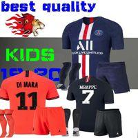 kits de fútbol para niños al por mayor-19 20 niños kit de camisetas de fútbol mbappe home VERRATTI CAVANI niño Buffon RED psg CAMISA Notre Dame AJ Notre-Dame BOYS 2019 2020