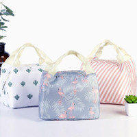 Wholesale lunch bags online - 5 Colors Geometric Pattern Lunch Bag Unicorn Tote Bag Lunch Organizer Handle Insulation Cold Picnic Food Storage Box CCA10939