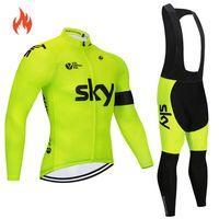 xxl zyklus trikot großhandel-2018 Pro Team Winter-Wärme-Fleece Radtrikot abbigliamento ciclismo invernale Fahrradkleidung MTB Fahrrad Jersey-Top Himmel C18122601 gesetzt