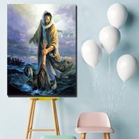 ingrosso olio di gesù-Tutti i giorni anime Jesus Peter Walking On Water Pittura a olio Wall Art Canvas Poster Prints Immagini del muro del paesaggio Office Bedroom Home Decor