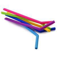 ingrosso paglie per frullati-Cannuccia Silicone Stripes Paglia 6 color Silicone Eco Cannucce Riutilizzabile per tazze da 800ml Smoothie Flessibile Sucker DH0011