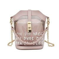 Wholesale white buckets resale online - 2019 Brand New Women Transparent Bag Clear PVC Jelly Small Tote Messenger Bags Female Crossbody Shoulder Bags purse