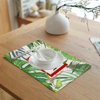 servilletas de impresión al por mayor-4pic / set Impresión Simple Hojas de Loto Hojas Verdes Servilletas Té Mesa de Café Decoración Western Pad Mantel