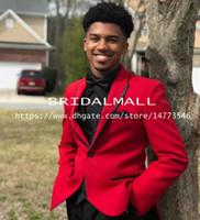 erkekler kırmızı takım elbisesi toptan satış-Yeni 2019 Kırmızı En İyi Erkek Takım Elbise Slim Fit İki Adet Groomsmen Düğün Smokin Erkekler Için Çentikli Yaka Bir Düğme Resmi Balo Suits (Ceket + Pantolon)