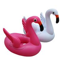 boya salvavidas al por mayor-niños Flamenco flotar nadar anillo vida bebé boya flotante inflable círculo de agua Piscinas quieren divertirse jugar arena Swan Beach juguetes AAA2043