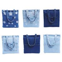 Wholesale bag blue jeans backpack for sale - Group buy Women Retro Jeans Handbag Canvas Bags Single Shoulder Fashion Simple Casual Storage Denim Tote Canvas Bag Handbag Girl