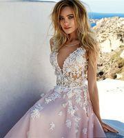 Wholesale embellished romantic wedding dresses resale online - bridal sleeves deep v neck heavily embellished bodice romantic pretty pink color a line wedding dress keyhole back Wed Dress Wed