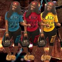 mulheres de terno colete preto venda por atacado-Mulheres Designer de Treino Carta Preta Roupa de Verão T-shirt + Shorts 2 Peça Marca Sportswear Basculadores Street Fitness Set Designer Terno A5906