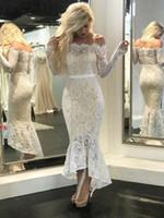 siyah dantel çıplak parti elbisesi toptan satış-Yeni Beyaz Çıplak Dantel Mermaid Abiye Bateau Boyun Kapalı Omuz uzun Kollu Çay Boyu Yüksek Düşük Siyah Gelinlik Modelleri Kısa Parti Elbise